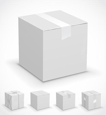 cajas de carton: Nuevas cajas de cartón blancas envueltas en papel. Ilustración vectorial conjunto