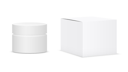White cream jar and Box. Realistic vector illustration