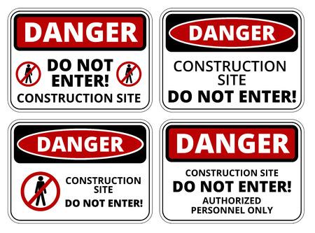 peligro: Conjunto de se�ales de peligro de construcci�n, cuatro dise�os, proporciones a4, ilustraci�n vectorial