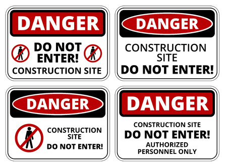 dangerous construction: Set of danger Construction site signs, four designs, a4 proportions, vector illustration