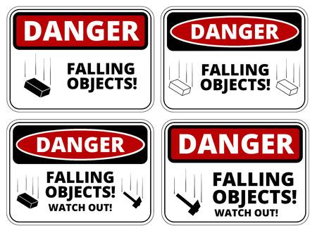 peligro: Conjunto de objetos señales de peligro que cae, cuatro diseños, proporciones a4, ilustración vectorial