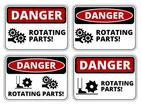peligro: Conjunto de signos de peligro Rotación de piezas, cuatro diseños, proporciones a4, ilustración vectorial