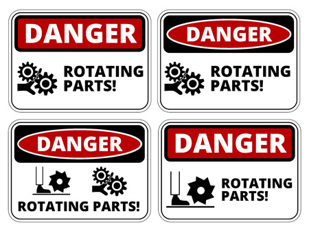 dangerous construction: Set of danger Rotating Parts signs, four designs, a4 proportions, vector illustration