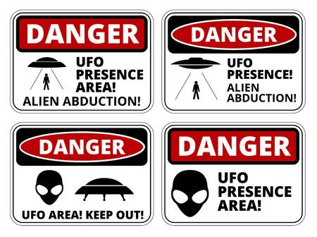 orbital station: Set of Danger signs for UFO, aliiens abduction theme, vector illustration