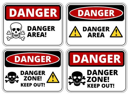 peligro: Conjunto de muestras de la zona de peligro, cuatro diseños, proporciones a4, ilustración vectorial