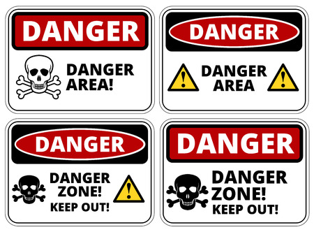 Set of danger area signs, four designs, a4 proportions, vector illustration