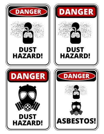 危険粉塵の危険な兆候、4 つのデザイン、a4 縦横比、ベクトル図のセット