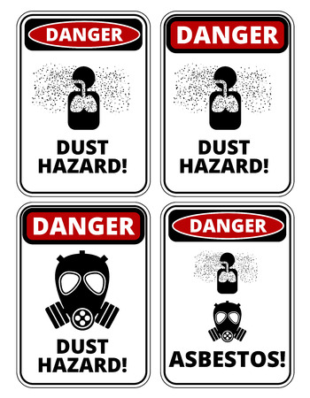 Set of danger Dust Hazard signs, four designs, a4 proportions, vector illustration
