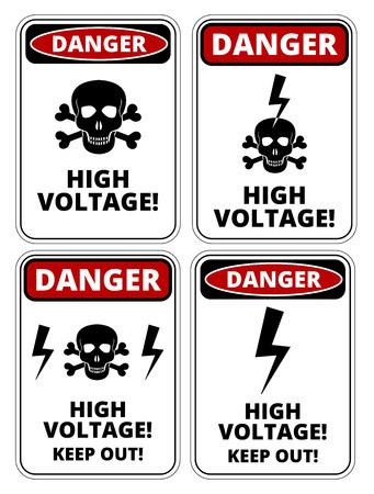 danger  high voltage: Set of danger High voltage signs, four designs, a4 proportions, vector illustration