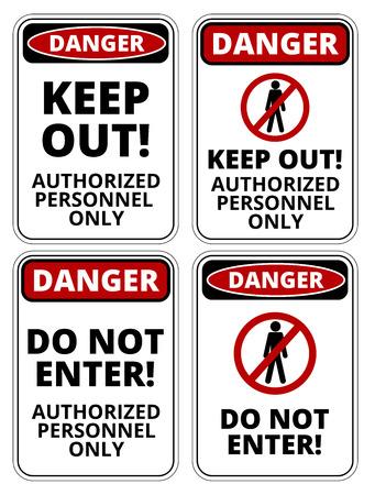 advertencia: Conjunto de peligro no autorizado de signos, cuatro diseños, proporciones a4, ilustración vectorial Vectores