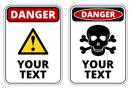Danger  sign template with A4 format proportion. Two red, black and white colored design. Vector Ilustracja