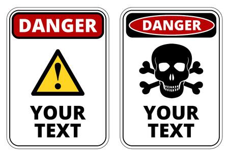 peligro: Peligro plantilla cartel con formato A4 proporci�n. Dos de dise�o de color rojo, negro y blanco. Vector