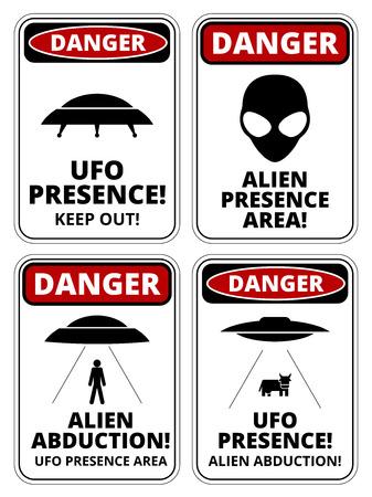 señales de seguridad: Conjunto de signos de peligro para OVNI, aliiens tema de secuestro, ilustración vectorial