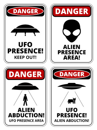 faded: Set of Danger signs for UFO, aliiens abduction theme, vector illustration