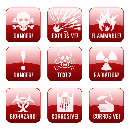 corrosive: Set of danger restricted and hazards signs button,  vector illustration Illustration