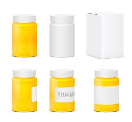 pharmacy pills: Set of white and yellow plastic medicine bottles. Realistic vector illustration Illustration