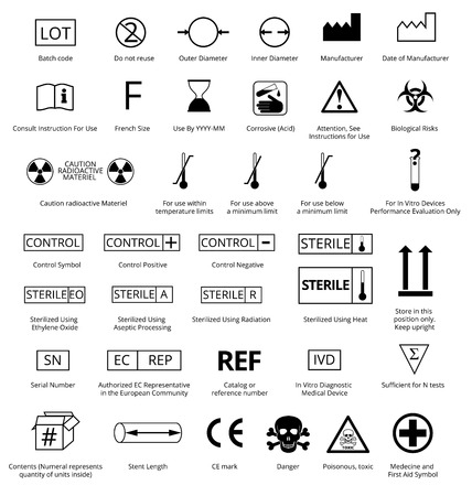 information symbol: Vector Set of International Medical Package Symbols with Title.