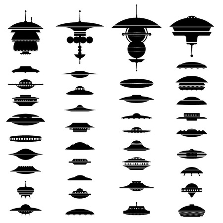 unidentified: Big collection of UFO crafts and Space Stations silhouette.