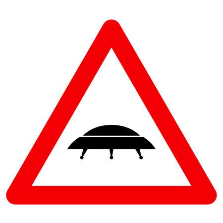 martians: Humorous danger road signs for UFO, aliens abduction theme, vector illustration