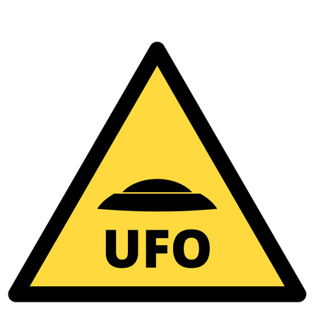 humorous: Humorous danger road signs for UFO, aliens abduction theme, vector illustration