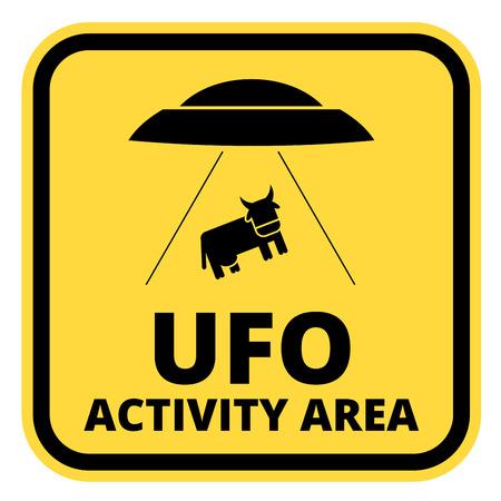 해학적 인: Humorous danger road signs for UFO, aliiens abduction theme, vector illustration