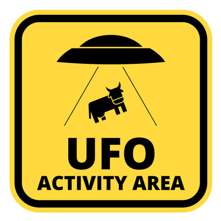 abduction: Humorous danger road signs for UFO, aliiens abduction theme, vector illustration