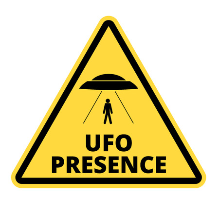 kidnapping: Humorous danger road signs for UFO, aliens abduction theme, vector illustration