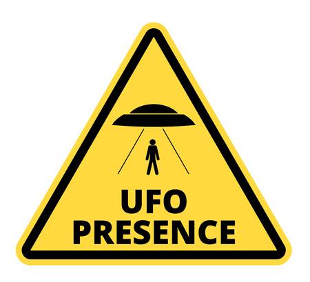 platillo volador: Signos chistosas carretera peligro para UFO, tema secuestro extranjeros, ilustración vectorial