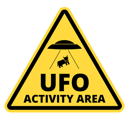 51: Humorous danger road signs for UFO, aliens abduction theme, vector illustration