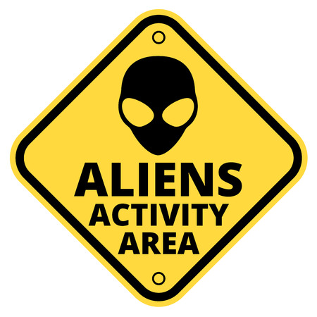해학적 인: Humorous danger road signs for aliens activity theme, vector illustration