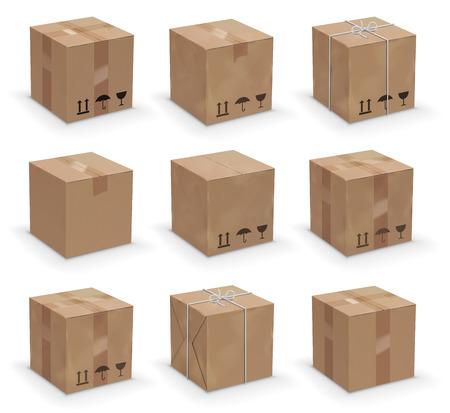 cajas de carton: Vector conjunto de 9 cajas de cartón diferentes, viejo, usado y nuevo