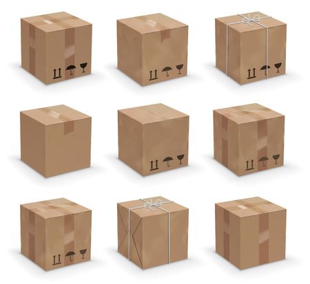 paperboard packaging: Vector set of 9 different cardboard  boxes, old, worn and brand new Illustration
