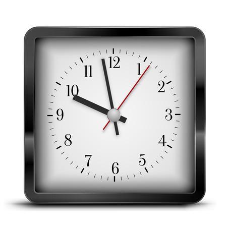 pm: Black retro square style alarm clock. Vector illustration