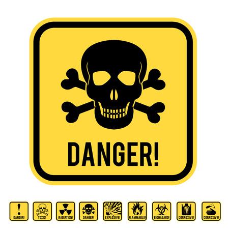 skull and crossed bones: Vector se�al de advertencia amarillo con cr�neo y huesos cruzados - s�mbolos de peligro letal