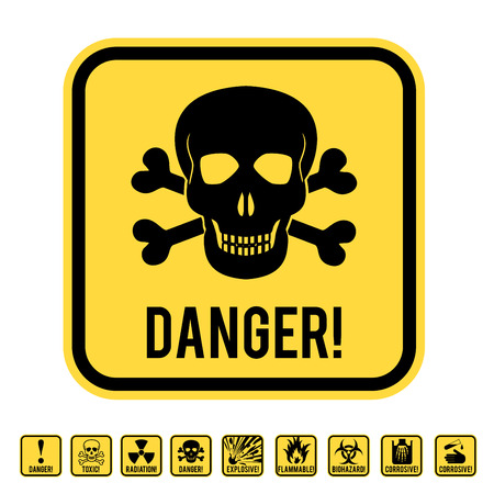 deadly danger sign: Vector warning yellow road sign with skull and crossed bones - symbols of lethal danger