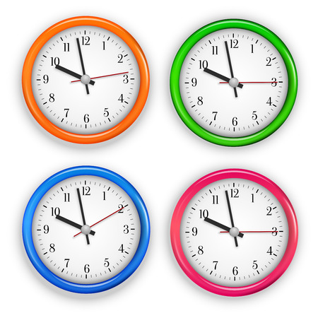 past midnight: Collection of different colored wall clocks. Vector illustration