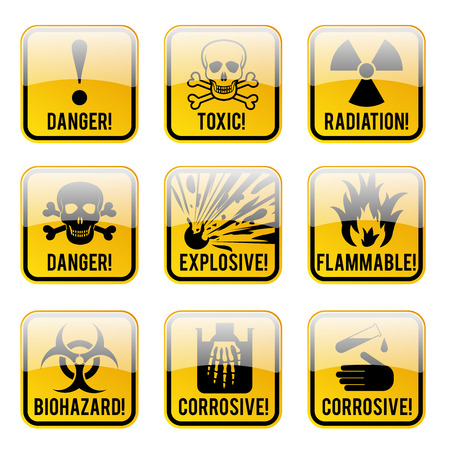 danger zone: Set of danger restricted and hazards signs button,  vector illustration Illustration
