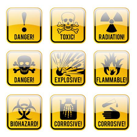 hazards: Set of danger restricted and hazards signs button,  vector illustration Illustration