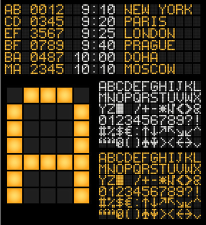 display type: Digital Terminal Table Led Font. Vector charset. For airport, seaport, train station and electronic device.