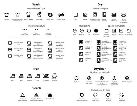 solvant: Blanchisserie et nettoyage � sec symboles icon set. collections vectorielles Illustration