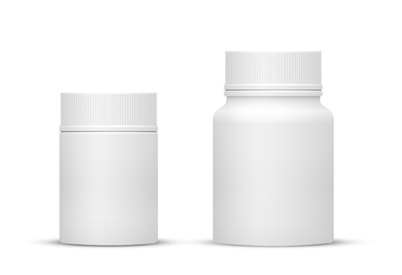 Vector Blank Small and Medium Sizes Plastic Packaging Bottles with Cap for Cosmetics, Vitamins, Pills or Capsules