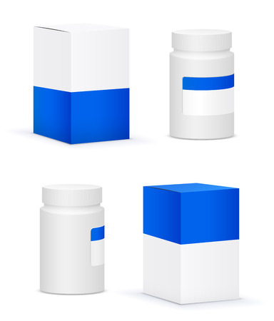 placebo: White medical bottle container and blue design templates on white background. Vector illustration