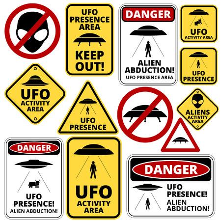 해학적 인: Humorous danger road signs for UFO, aliens abduction theme, vector illustration