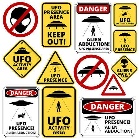Humorous danger road signs for UFO, aliens abduction theme, vector illustration