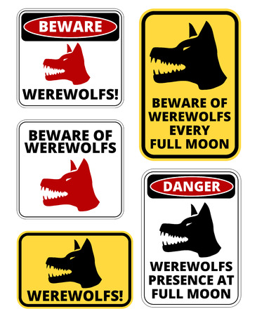 beware dog: Beware of  Werewolfs warning sign. Vector EPS8 set Illustration