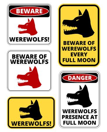 dogie: Beware of  Werewolfs warning sign. Vector EPS8 set Illustration