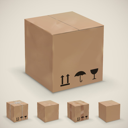 Cardboard box, with variations vector icons eps10