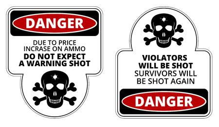 violator: Danger sign - Beware of Owner. Humorous Comic Signs. Vector EPS8 set