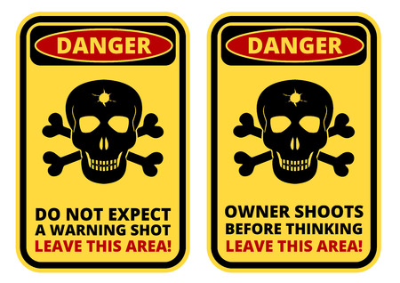 a sign: Danger sign - Beware of Owner. Humorous Comic Signs. Vector EPS8 set