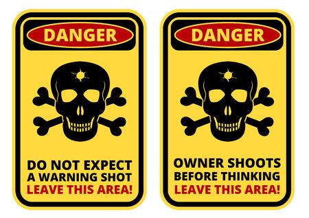 peligro: Muestra del peligro - Cuidado con el propietario. Signos de historietas humorísticas. Vector conjunto EPS8